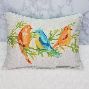 "Canvas Bird Print Pillow 12""x16"""